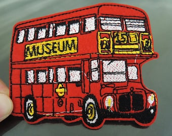 Iron on Patch - Bus Patch Red Bus Patch Museum Bus Patches Tour Buses Iron on Applique Embroidered Patch Sewing Patch