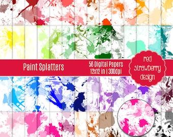 75% OFF Sale - 56 Digital Papers - Paint Splatters - Instant Download - JPG 12x12 (DP282)