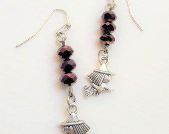 Cute Little Witch Crystal Charm Earrings