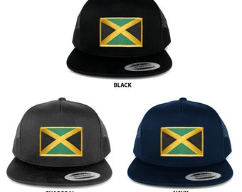 FLEXFIT 5 Panel Jamaica Flag Embroidered Iron On Patch Snapback Mesh Trucker Cap (6006-FPA120)