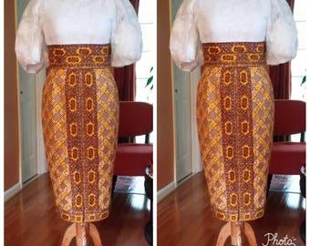 SARAI Collection,African clothing,  Africa pencil skirt, Dutch Wax Fabric