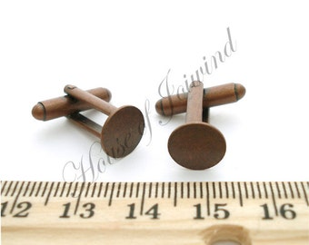 12 Pair (24 pieces) Cufflinks Backs Base with 10mm Glue Pad ANTIQUED COPPER