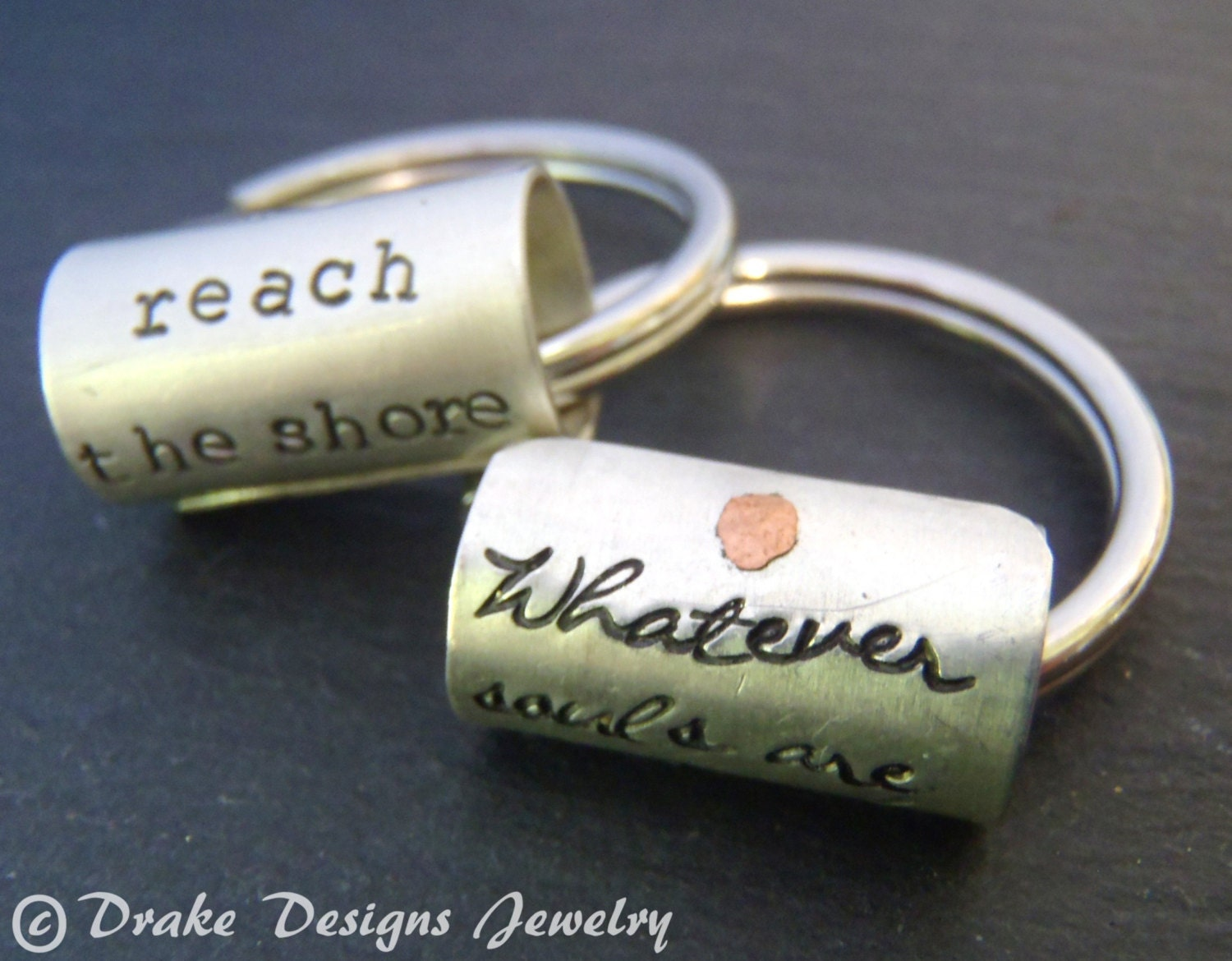 Sterling Silver Custom Keychain Inspirational Quote Graduation