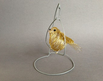 Wire bird *Tweety pie* with swinging steel stand, canary wire sculpture, cute home decor, bird cage, wire art, one of a kind, unique gift