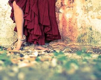 FLAMENCO skirt, burning man festival skirt, long skirt, tribal skirt, gypsie skirt, dance skirt.