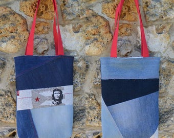 Tote bag purse Jeans denim,quilting linen coton, The Che Cuba - recycled