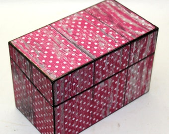 Wood Recipe Box Pink with White Polka Dot Barn Wood Fits 4x6 Cards