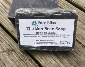 The Man Soap, Guy Soap, Mens Soap, Fathers Day Gift, Soap For Dad, Cologne Soap, Beer Soap, Activated Charcoal Soap, Mens Stocking Stuffer