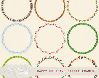 Happy Holidays Circle Frames - Digital Clipart for card making, scrapbooking, invitations, printed products, commercial use