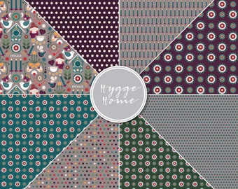 Scandi Hygge Cosy Home Folk Art theme scrapbooking digital papers printable background polka dot floral
