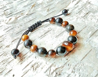 Tigers eye and black obsidian bracelet