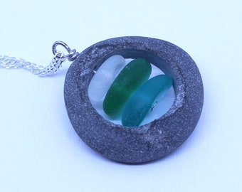 sea glass necklace beach glass pendant stone stack necklace natural rock necklace cairn necklace beach stone jewellery sea glass stack charm