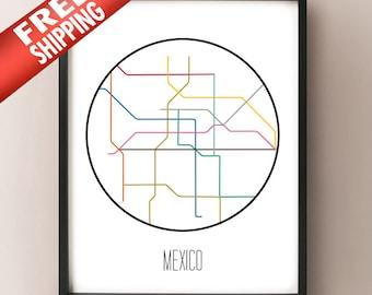 Mexico City, Mexico - Minimalist Metro Subway Art Print - Metro de la Ciudad de México