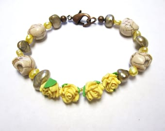 Day of the Dead Bracelet Sugar Skull Jewelry Freshwater Pearls