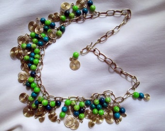 brass link bib fringe choker necklace w/ spiral & blue/green jasper bead dangle.