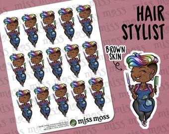 Hair Dresser Stylist Girl Barber Esthetician Planner Stickers, BROWN SKIN, Plus Size Curvy, African American Black