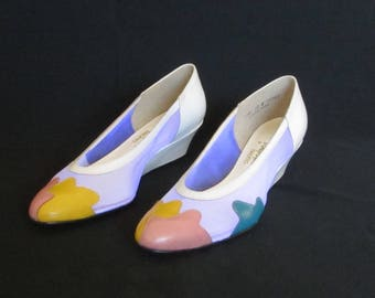Vintage 1980s Like New Color Block Wedge Shoes, Women's Size 10, Magdesians, Made in U.S.A.