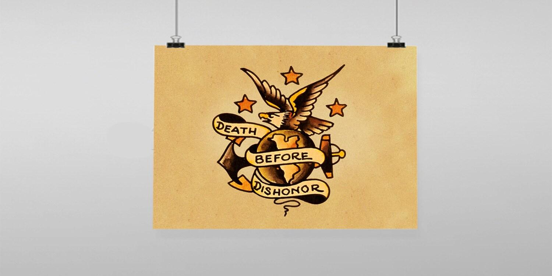 Death Before Dishonor Eagle Tattoo Sailor Jerry Vintage
