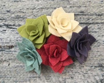 "Felt ""Pointed Tip"" Succulent, Bulk Felt Flowers, Felt Succulents, Choose Quantity and Color, 2.5"""