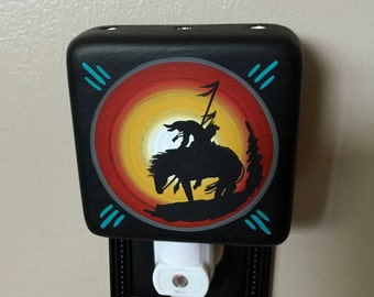 End of the Trail, Southwestern Night Light,Hand Painted Ceramic Night Light by Native American Artist Frank Yazzie, New Mexico Night Light,