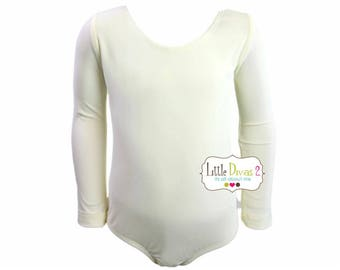 Ivory Leotard (Child) Long Sleeve Leotard Front Lined-Great for Weddings