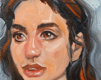 Soulful Sociopath, oil on canvas panel 8x8 inches by Kenney Mencher  www.Kenney-Mencher.com