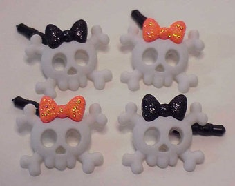 Skulls and Bows eCharm Dust Plug Set for Cell Phone eReader PC Pad or any eDevice, Ear Phone Charm, Dust Plug Charm