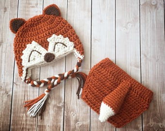 Little Mr. Fox Earflap Beanie and Matching Diaper Cover in Burnt Orange Ecru and Brown Available in Newborn to 24 Month Size- MADE TO ORDER