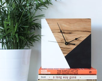 Geometric, Wooden Clock, Wall Clock, Handmade clock, Geometric Design