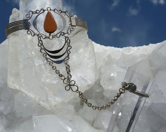 Silver Ring Bracelet with Jasper, Adjustable Ring Bracelet, Jasper Hand Chain