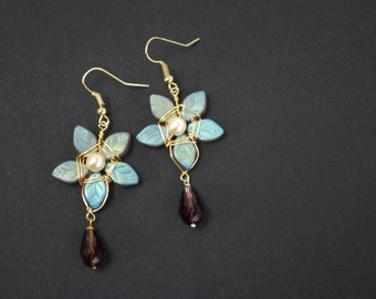 Iridescent Star-Flower Fairytale Earrings   |   Dusty Purples, Greens, and Golds   |   Gold Plated