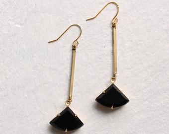Jet Black Art Deco Earrings ... Vintage Art Nouveau Earrings