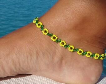 Anklet, ankle bracelet, Sunflower Daisy Anklet - Yellow Flower Ankle Bracelet - Beaded Jewelry