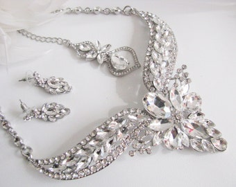 Silver tone Bridal Statement Necklace Set, Wedding Jewelry Set, Vintage Inspired Necklace, Rhinestone Necklace, Bridal Necklace