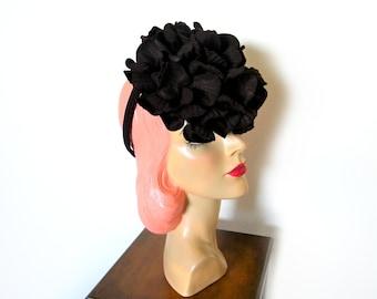 Vintage 1940's Brown Felt Tilt Hat/ Percher w/Chignon Ring~