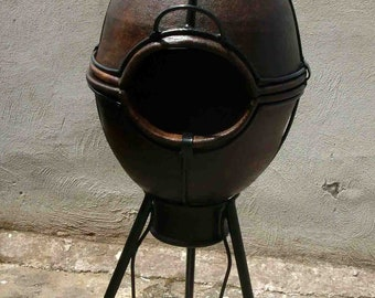 Barbecue with typical Moroccan cover in terracotta and iron entirely handmade size cm 75x75x145 h