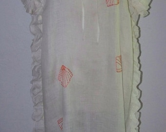 ON SALE OOAK  Vintage 1920s Wonderful Sheer Hand Embroidered Fans Dress Chemise Style Side Ruffles Very Wearable