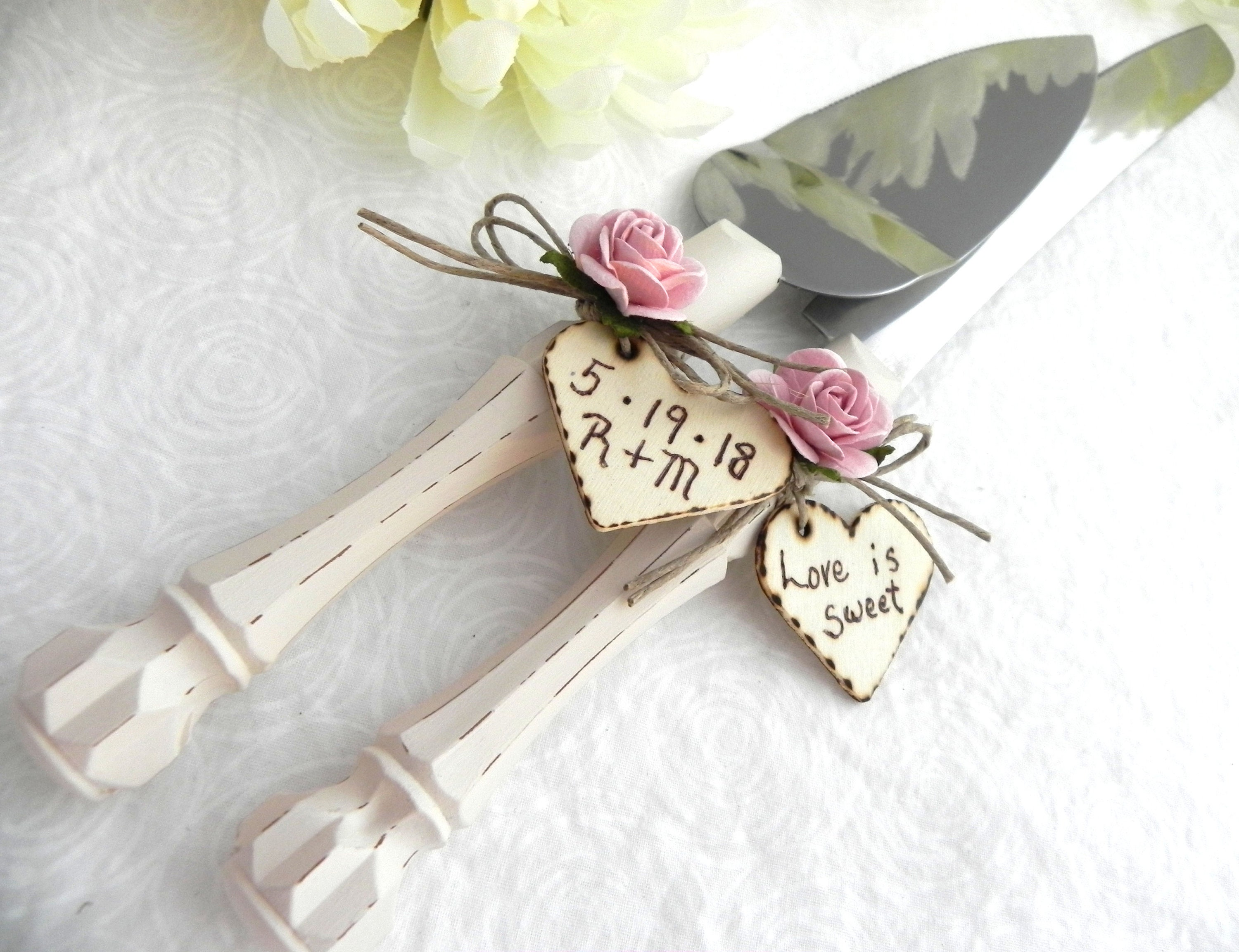 Rustic Wedding Cake Server Knife Set Cream Handle Dusty Pink Rose ...