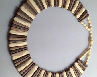 70s Vintage COLLAR Necklace CHOKER Necklace Egyptian Collar Necklace STATEMENT Necklace Barrel Clasp Looks Like Celluloid Tri Color Plastic