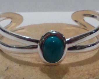 Silver plated oval bangle, Turquoise stone bangle