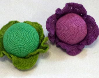 1 Pcs -Crochet cabbage, crocheted vegetables, teether teeth, play food, kitchen decoration, eco-friendly Baby toys(6m+)