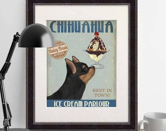 Chihuahua wall art - Chihuahua black and ginger Ice Cream - Chihuahua dog Chihuahua lover gift Chihuahua print Chihuahua painting wall decor