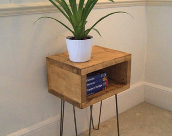 Bedside Table - Industrial Side Table With Hairpin Legs - Bedside Cabinet - Handmade With Reclaimed Wood - Handmade - Bedside - Hairpin Legs