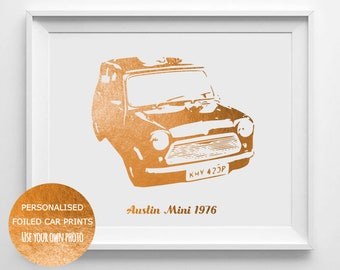 Foiled Classic car print - Personalised Mini print - Foiled Print - personlised car art - classic car gift - classic car art - Farthers day