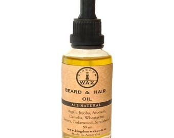 Kingdom Wax Beard & Hair Oil / Men's Grooming / All Natural / Apothecary / Australian Made / Shaving / Personal Care