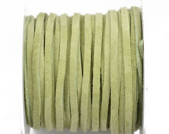 "1/8"" Suede Leather Lace, KIWI GREEN, real leather by the yard, Realeather made in USA, 3mm wide, 25 yards, Lth0019"