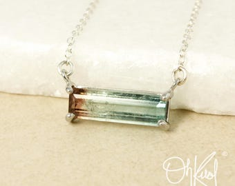 Rare Teal Blue Tourmaline Bar Necklace - Teal Blue Ombre - Choose Your Setting