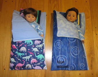 15 to 18 inch Doll Sleeping Bag and Pillow Sized to Fit the American Girl Bitty Baby Boy and Logan Dolls