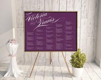 Wedding Seating Chart, Reception Seating Chart, Printable Seating Chart, Seating Chart PDF, Script, Calligraphy, Purple, jpeg, Pirouette