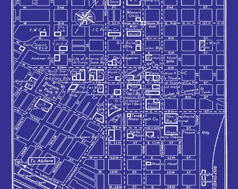 Vintage Map of Fort Worth Texas Blueprint Map Print Poster